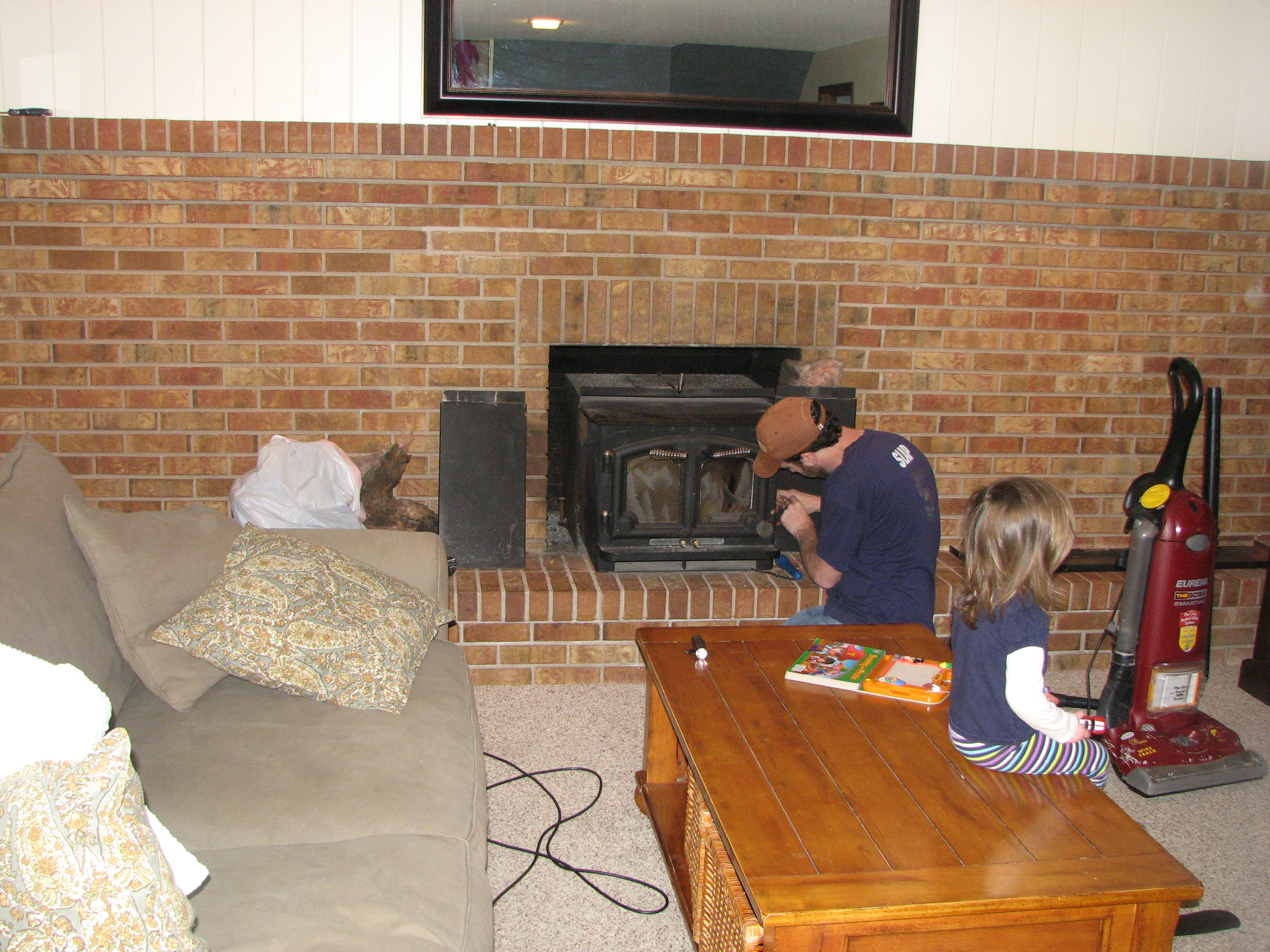 Full wall brick fireplace house over head for Removing paint from interior brick