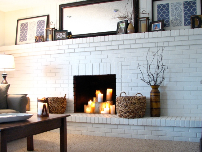 full-wall painted brick fireplace