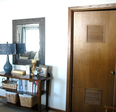 oak louvered door and trim -- House Over Head blog