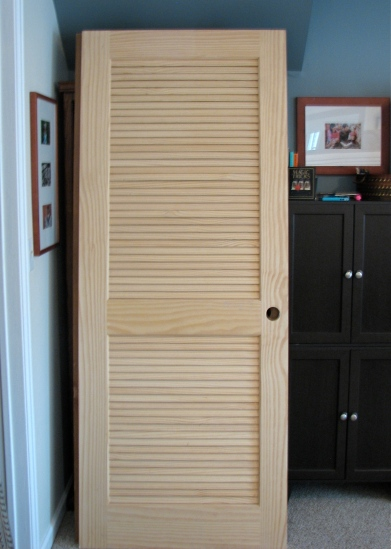 unpainted pine louvered door -- House Over Head blog